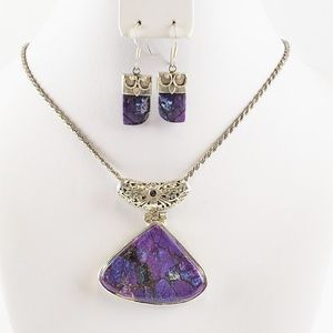 Purple Turquoise Silver Necklace Earring Set